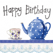 Alex Clark Art - Greeting Card - Little Sparkles - Time for Tea, Teapot Birthday